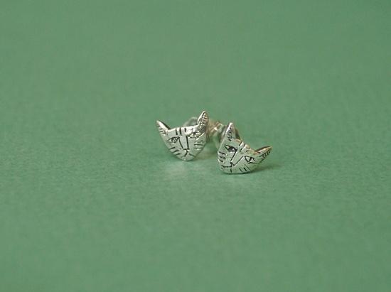 Silver tiny cat earrings. $54.00, via Etsy.