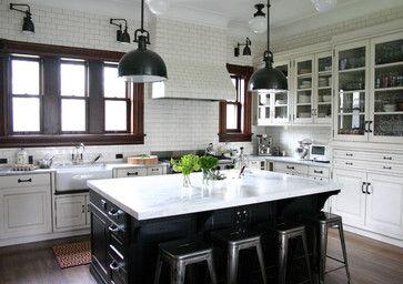White cabinets, black island.  I even like the pendants and flush-mount lights.