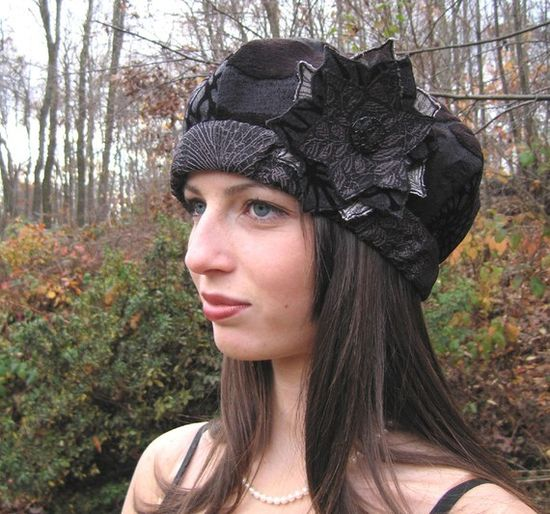 Custom  Hat by Lynn Chalk - Black Cut Velvet and Silk Beret with handmade fabric flower and 100 year old antique cut glass button