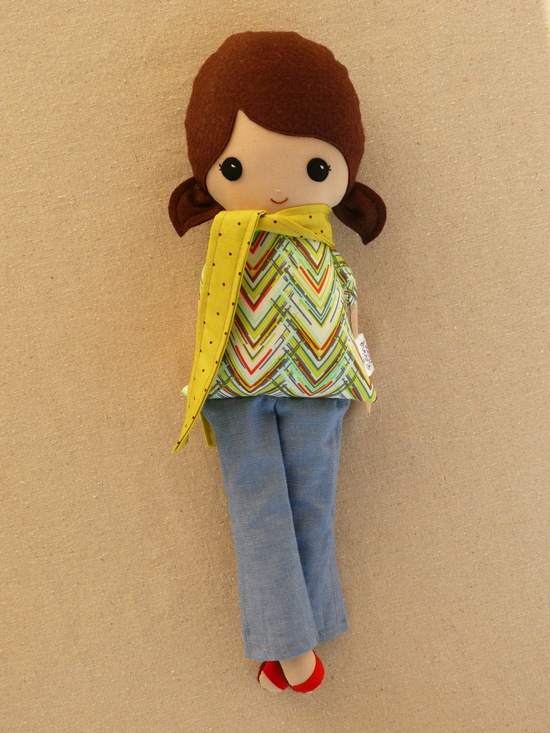 Small Fabric Doll Rag Doll Girl in Green Scarf and Jeans. $30.00, via Etsy.
