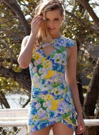 Floral Print Party Dress #cutout #asymmetrical