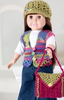 """Free crochet hat, purse and vest pattern for 18"""" dolls, including American Girl Dolls.  Jana would love to have a few of these hats!!   Anyone want this I could so make this:)"""