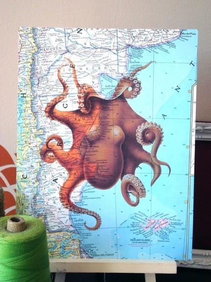 Color Octopus Print on Vintage Atlas Page