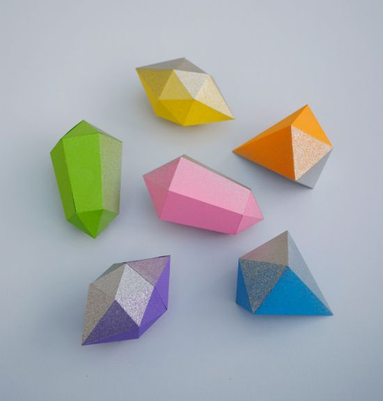 DIY: paper gems with templates #paper_crafting #crafts #decoration