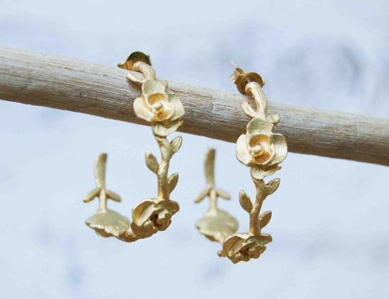 Roses & Vine Golden Hoop Earrings Wedding Bride by redtruckdesigns