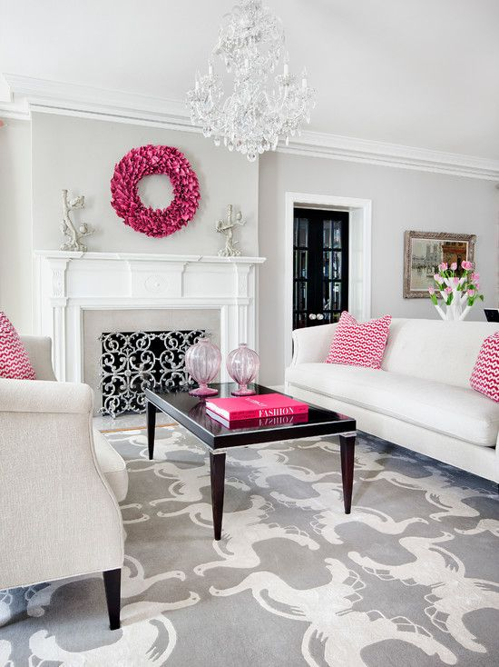 #White and #pink #formal living room #design