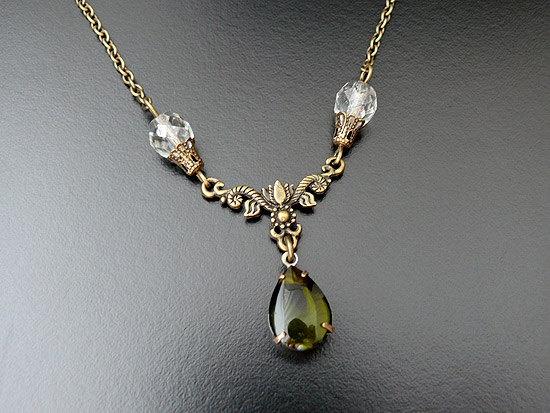 Gothic Necklace Emerald Green Glass Bride Bridesmaid by skaior, $21.00