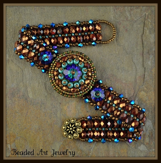 Beadwoven and Bead Embroidered Button Flower Bracelet.  via Etsy.