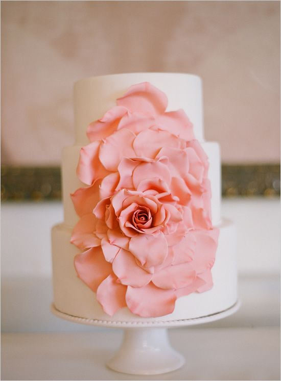 coral rose wedding cake