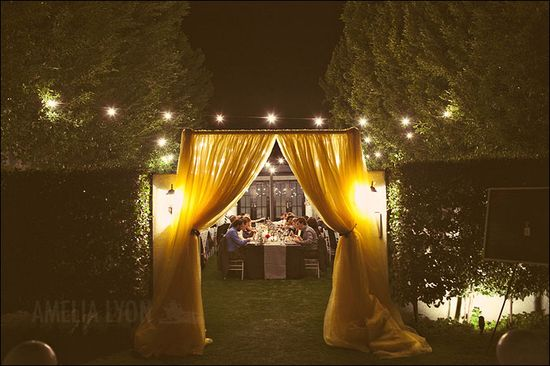 curtained entrance to a wedding reception