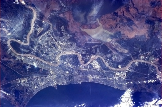 "In honor of Sunday's Super Bowl, Chris Hadfield passed along this picture of New Orleans. ""I can see the Superdome!"" he said. Can you? (Photo: Chris Hadfield / CSA / NASA via Twitter)"