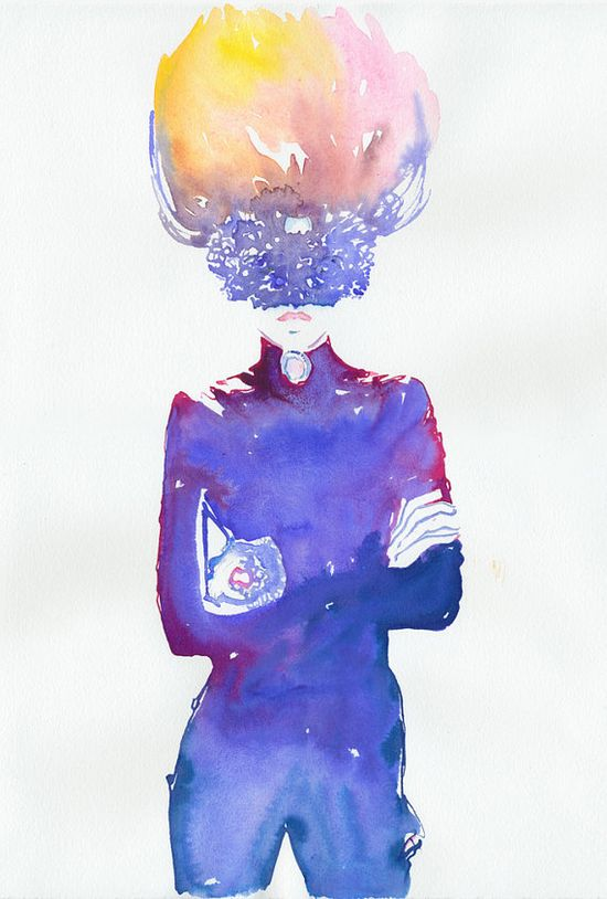 Watercolour Fashion Illustration - Paris Vogue Blue by silverridgestudio #etsy