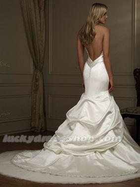 Ivory Mermaid/Trumpet Halter Chapel Train Wedding Dress With Backless