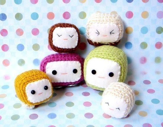 Amigurumi toy pattern - Tofu Baby Crochet Amigurumi by TGLDdoll, $3.50