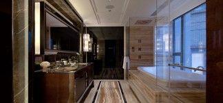 Sedimentary Marble Earthy Bathroom Interiors Design Ideas