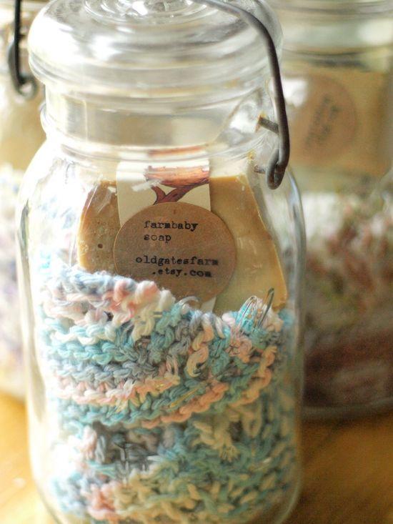 Aunt Elizabeth's Gift Set - Handmade Soap and Knitted Washcloth in Vintage Jar. $15.00, via Etsy.