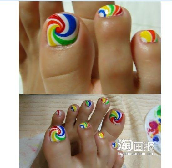 lollipop toes using acrylic paint