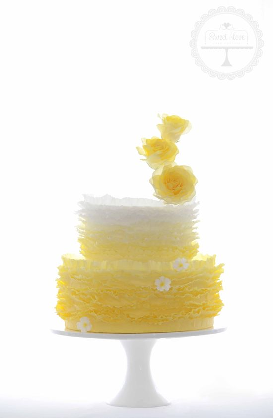 Sunshiny happy wedding cake
