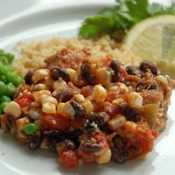 Southwest Chicken Allrecipes.com  Need: 1 tbsp vegetable oil; 4 skinless, boneless chicken breast halves; 1 (10 oz) can diced tomatoes with green chile peppers; 1 (15 oz) can black beans, rinsed and drained; 1 (8.75 oz) can whole kernel corn, drained; 1 pinch ground cumin.  (Others added onion, garlic, chili powder.)