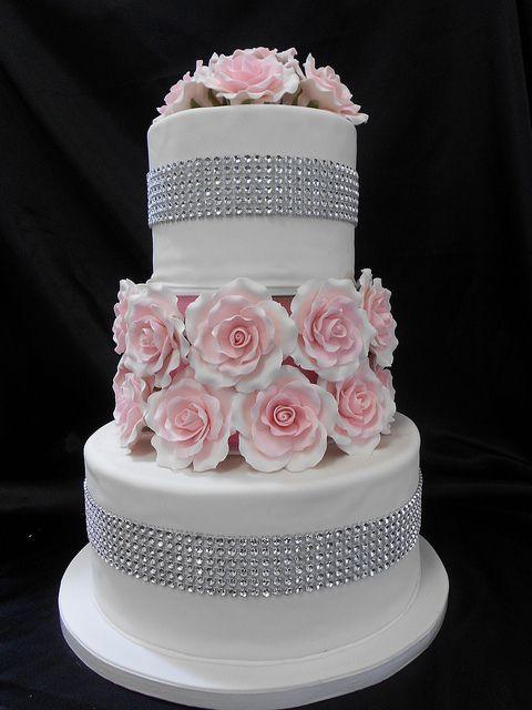 Rose and Diamond Wedding Cake