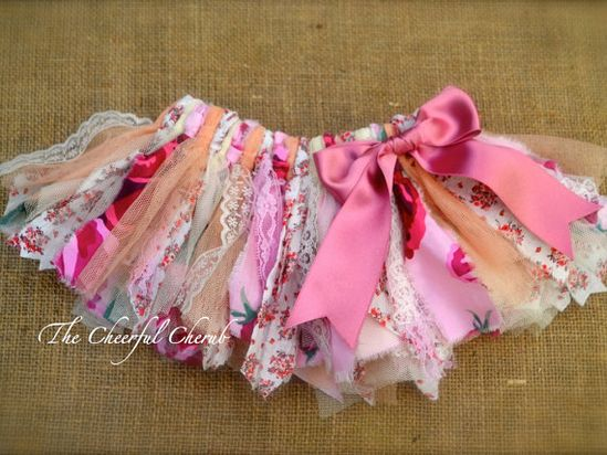 Newborn Shabby Chic Fabric Tutu - Baby Girl Outfit - Baby Shower - Vintage - Birthday Tutu - Ready to Ship