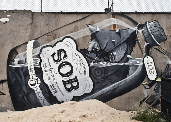 """Street Art - Message in a bottle - """"Sob Stories"""" - Distilled in ATL"""