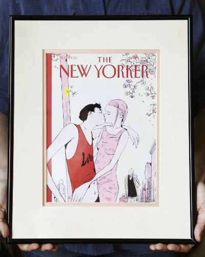 When I first moved to New York, more than ten years ago, I fell in love with a New Yorker magazine cover that arrived in my mailbox. The illustration showed a young couple kissing on a busy street. I felt like it captured my twenties—or, at least, how I wanted my twenties to be:)   That following Christmas, I was visiting my family in Michigan, and my mom brought out a gift for me. She had framed the cover of the magazine, along with a lovely pink mat to complement the illustration.