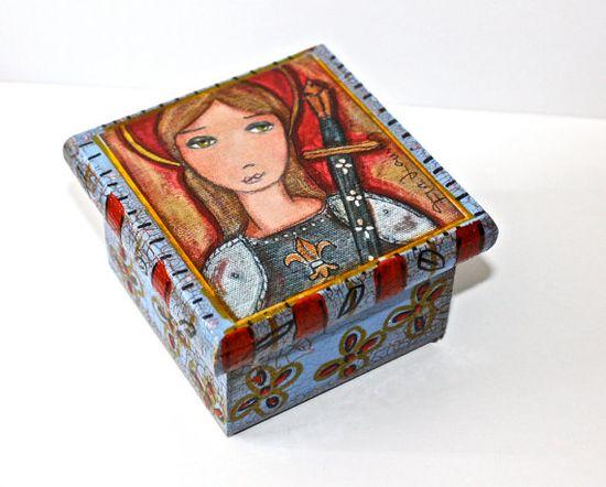 Joan of Arc   Original Mixed Media Handmade Jewelry by FlorLarios, $20.00