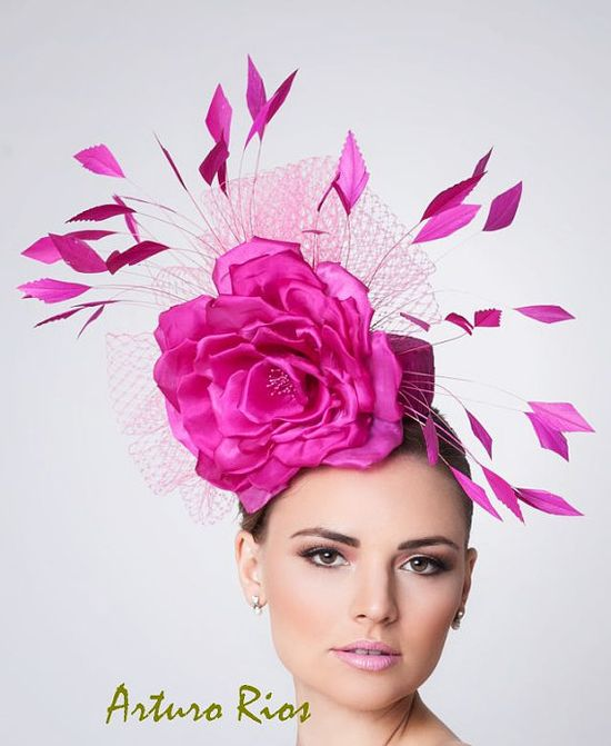 Hot Pink Fascinator Cocktail Hat Kentucky derby hat by ArturoRios