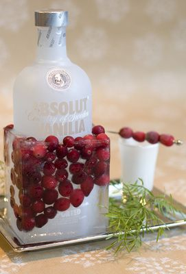 Freeze your vodka in a cranberry-laced block of ice. Takes just five minutes, plus freezing time. Save and clean a square milk or orange-juice carton, and cut the top off. Put your favorite bottle of vodka inside. Add fresh cranberries and fill halfway with water. Freeze for at least four hours. When you're ready to serve, just peel off the milk carton and set your icy drink on a tray to catch the drips.