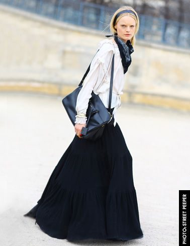 How to rock a maxi skirt for Fall.