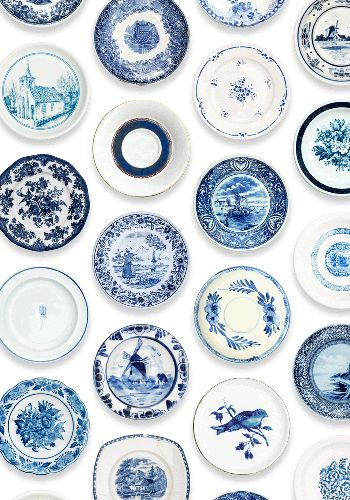 Wallpaper porcelain, blue