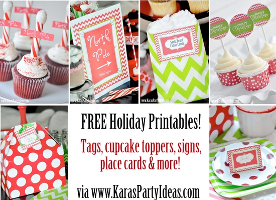 FREE holiday Christmas printables! Tags, cupcake toppers, signs, place cards, thank you cards & more! via www.KarasPartyIde...