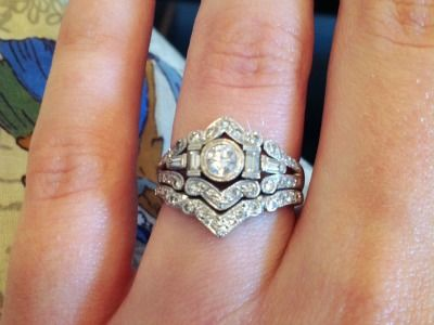 A one-of-a-kind #engagement #ring and #wedding #band set!