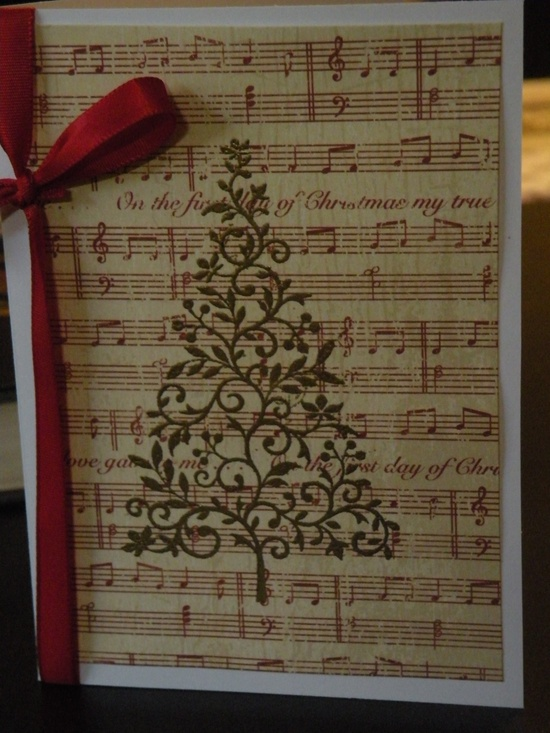 Christmas card gold tree with red sheet music