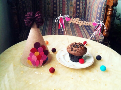 Personalized Handmade Party Hat & Cake Bunting Set /  kids party, birthday party  via Etsy.