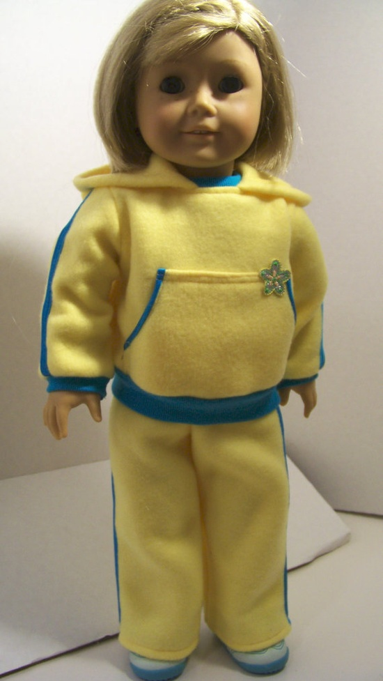 American Girl Doll Clothes Fleece Jog Suit Satin by fashioned4you, $16.00*