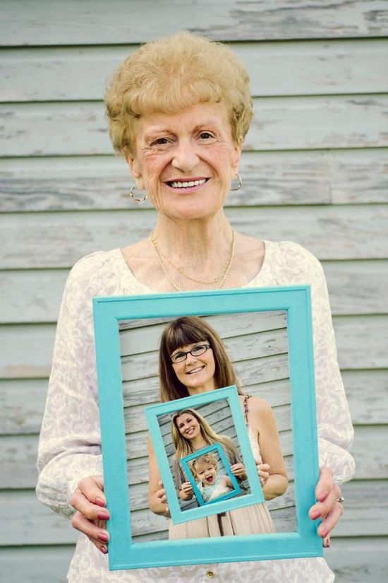what a great idea for framing photos for 4 generations.