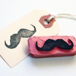 Mustache eraser stamp