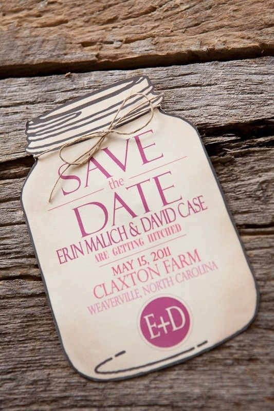 Mason Jar Save the Date for wedding invitations (envelope included). $2.00, via Etsy.