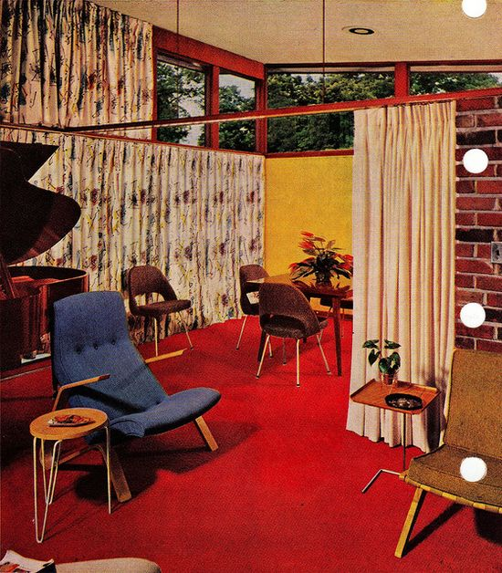 Privacy when you have a window wall, Mid Century Modern.1956 edition, Better Homes & Gardens Decorating Book.
