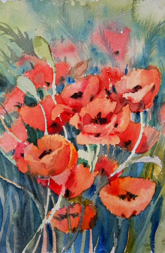 Field Poppies (original by Suren) impressionist  original 10 X 6,5 in watercolor painting. $24.00, via Etsy.