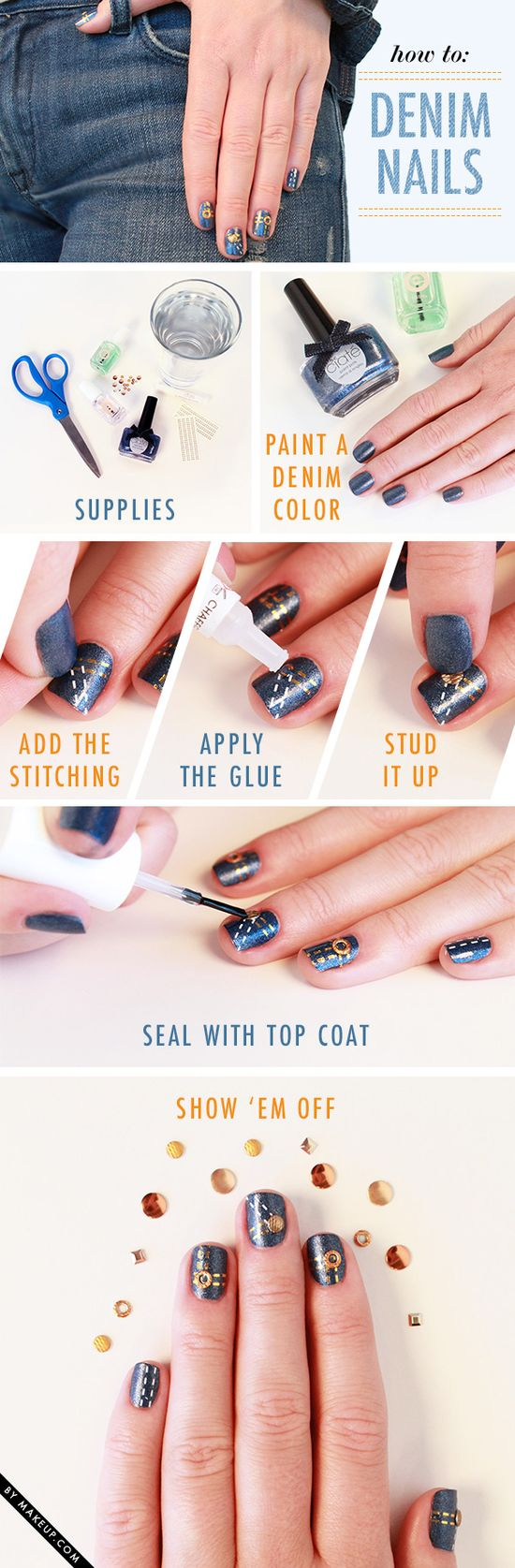 how to: denim inspired manicure // love this creative nail art!