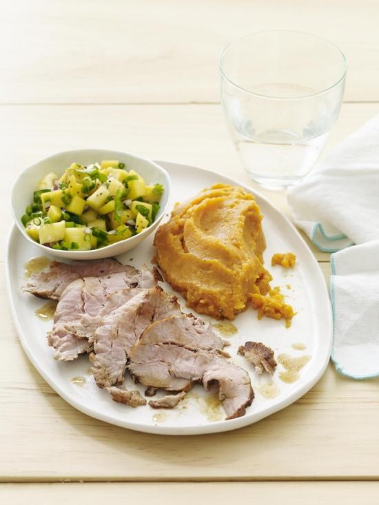 Smoky Pork Tenderloin with Pineapple-Mango Salsa #myplate #pork #healthyfamilydinners