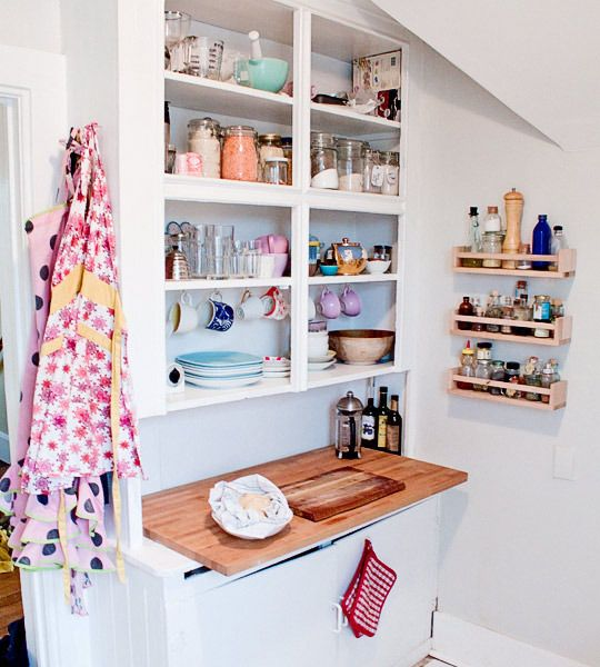 Open shelves and spice rack