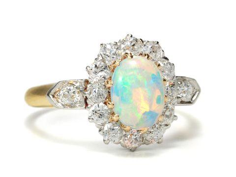 Opulence of Color: Edwardian  Opal Diamond Ring