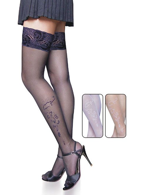Soft Tattoo Pattern Lace Stockings