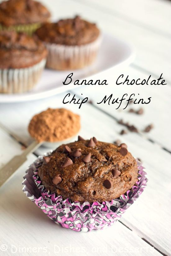Banana Chocolate Chip Muffins @Julie Forrest Forrest Hanley, Dishes, and Desserts