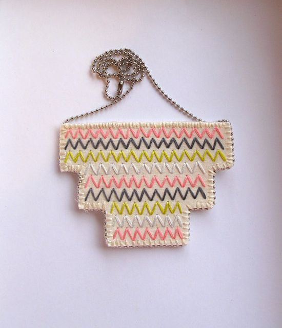 Bib necklace embroidered geometric zigzags in by AnAstridEndeavor on Etsy