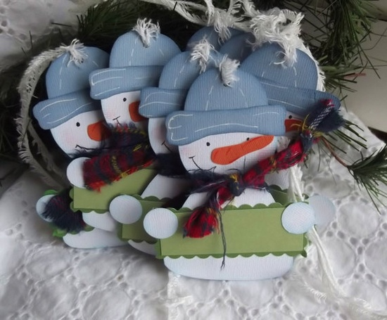 Snowman Gift Tags, Paper Pieced, Real Scarves
